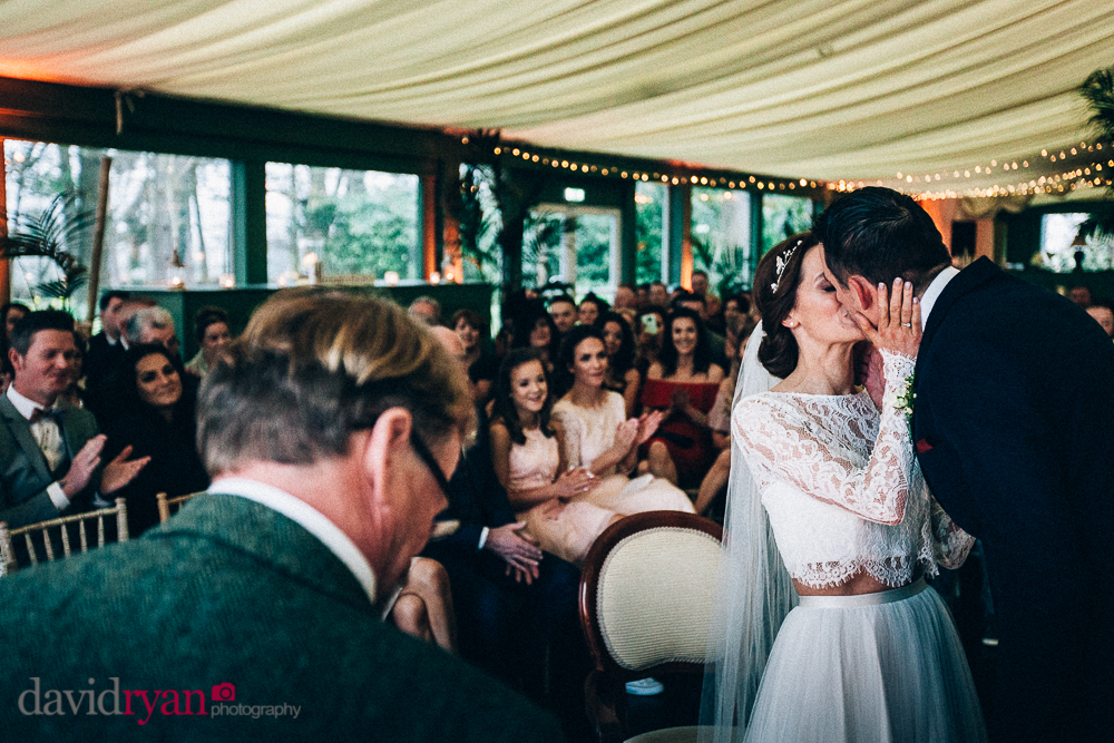 tinakilly country house wedding venue the marquee brides kiss