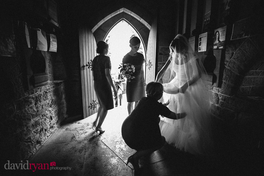st. mary and michael church rathdrum bride fixes her wedding dress