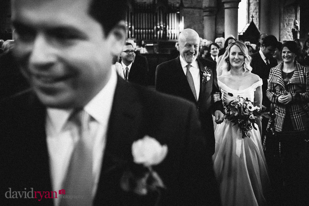 st. mary and michael church rathdrum brides walks up aisle