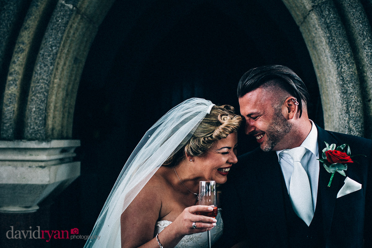 bride and groom laughing in dublin