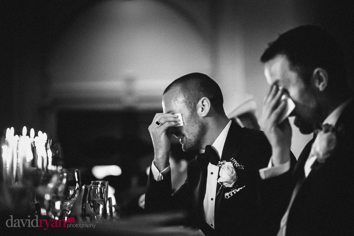 two men crying at a wedding in dublin