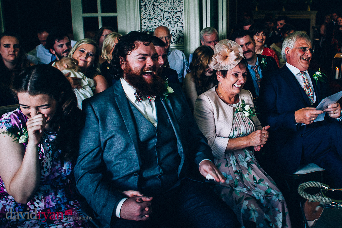 wedding guests laughing at virginia park lodge