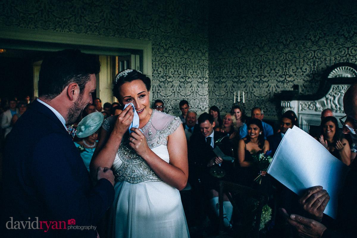 the bride crying at virginia park lodge