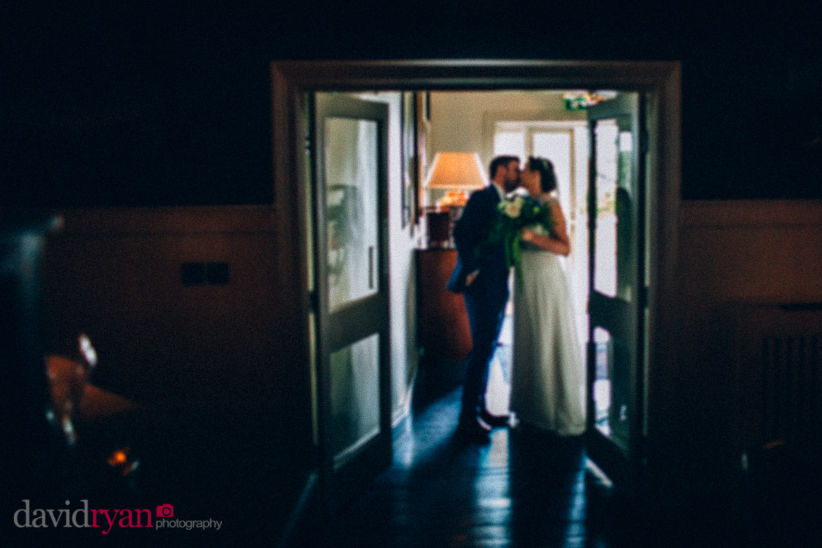 bride and groom kissing at virginia park lodge