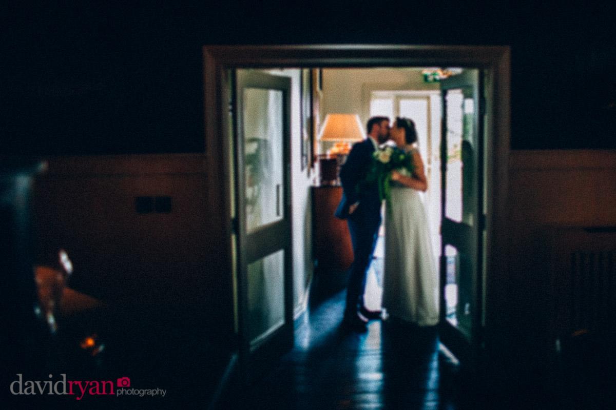 bride and groom kissing at virginia park lodge