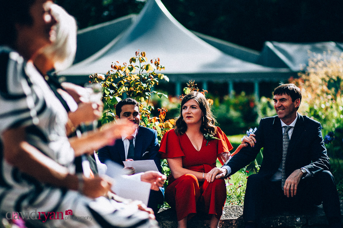 wedding guests hold hands at virginia park lodge