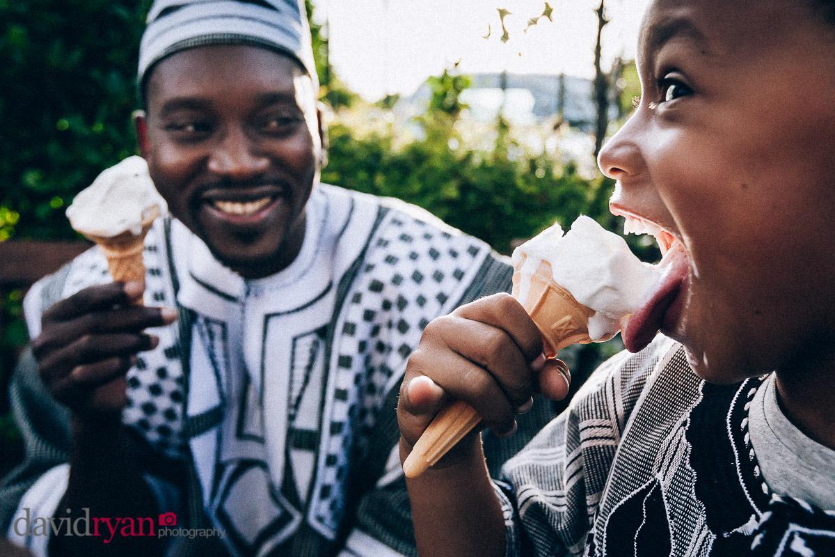 eating ice cream