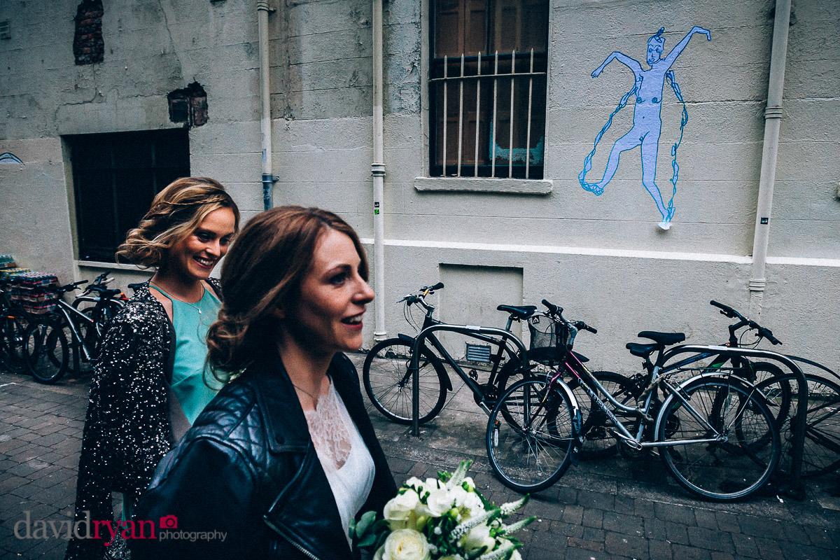 bride walking in dublin