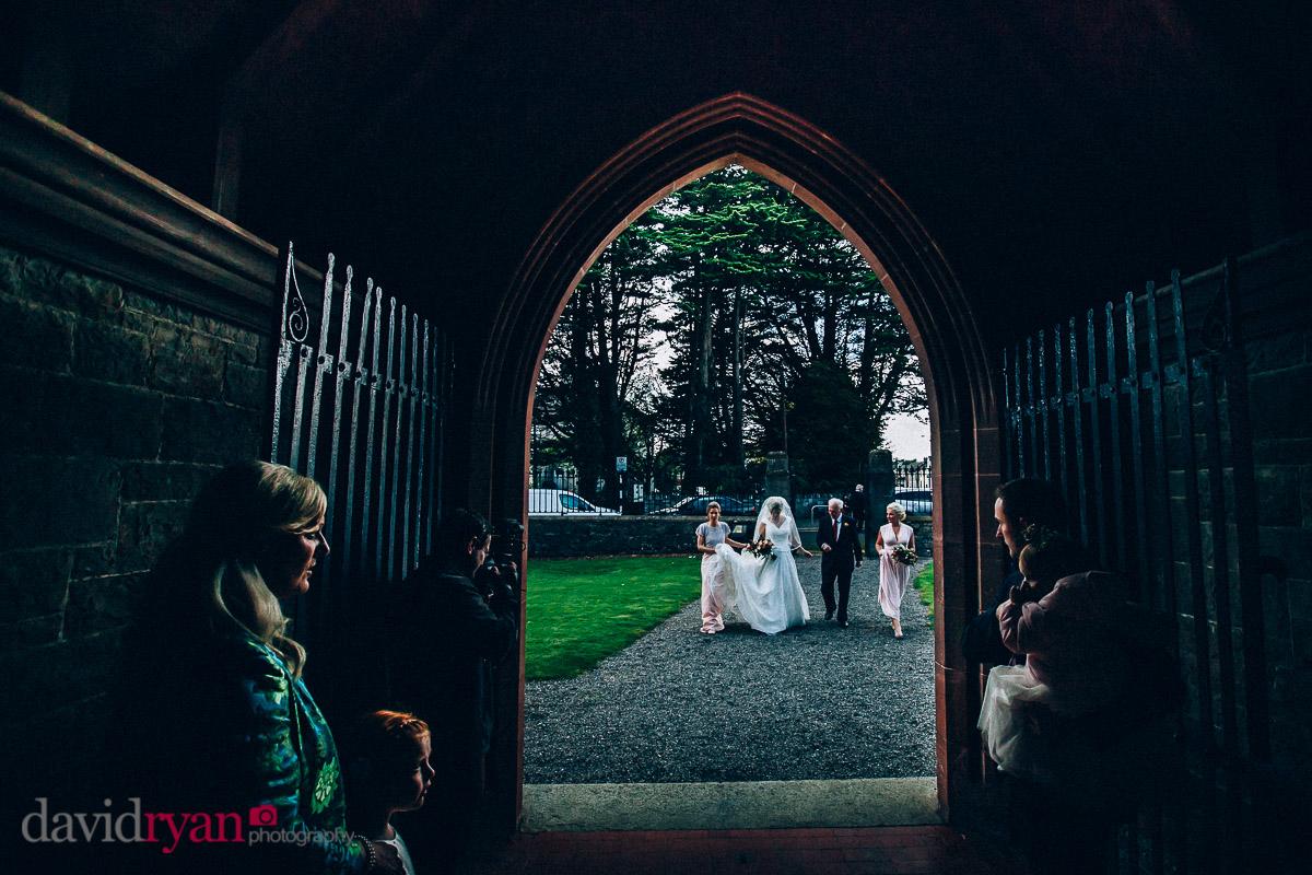 bride arives at church door