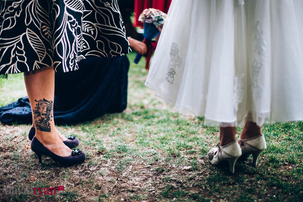 a wedding dress and a tattoo