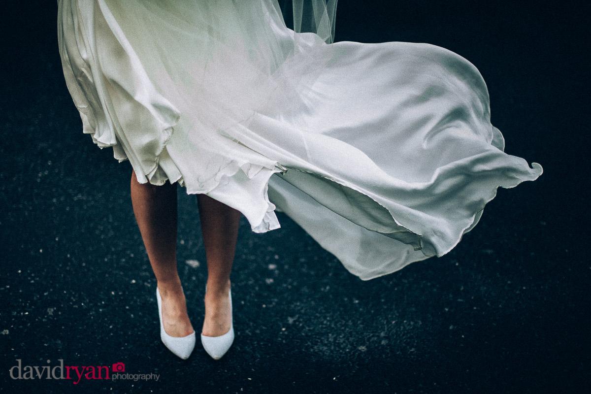 wedding dress blows in wind