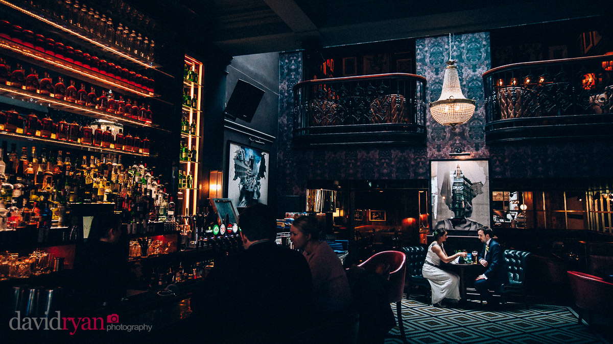 wedding couple drinking in dublin bar