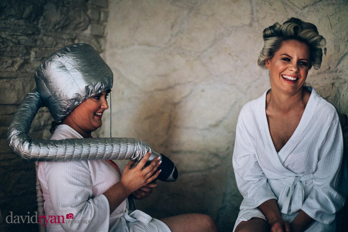 two girls having their hair dried