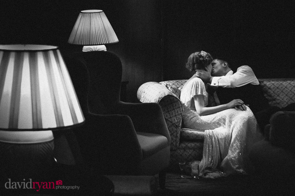 the bride and groom kiss at rathsallagh house
