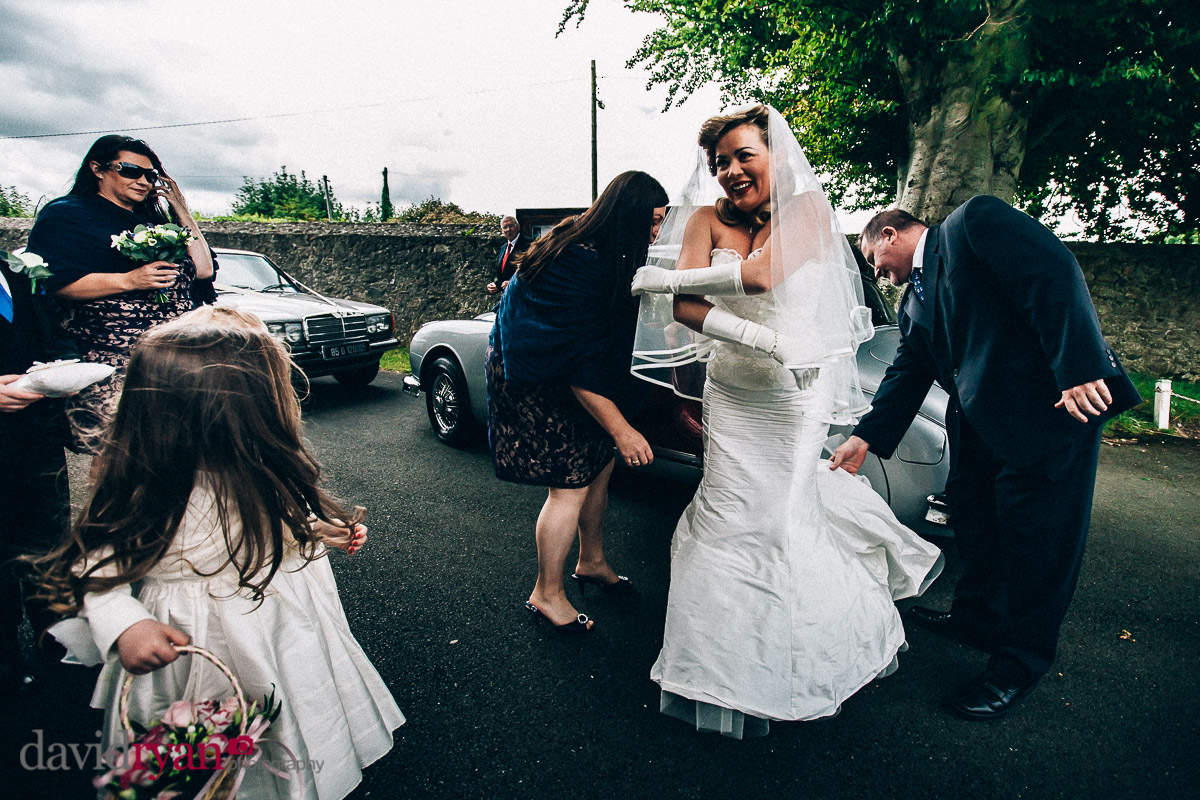 bride waiting outside church in tallaght
