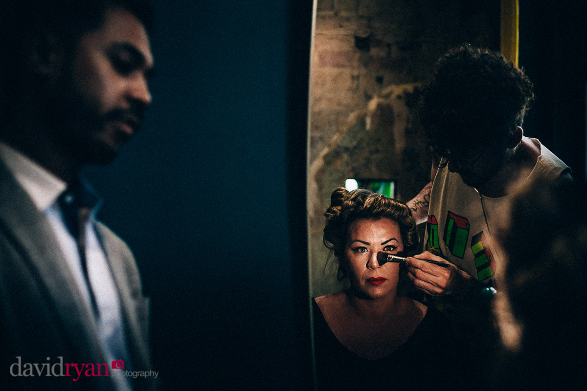 bride getting her make up on in dublin