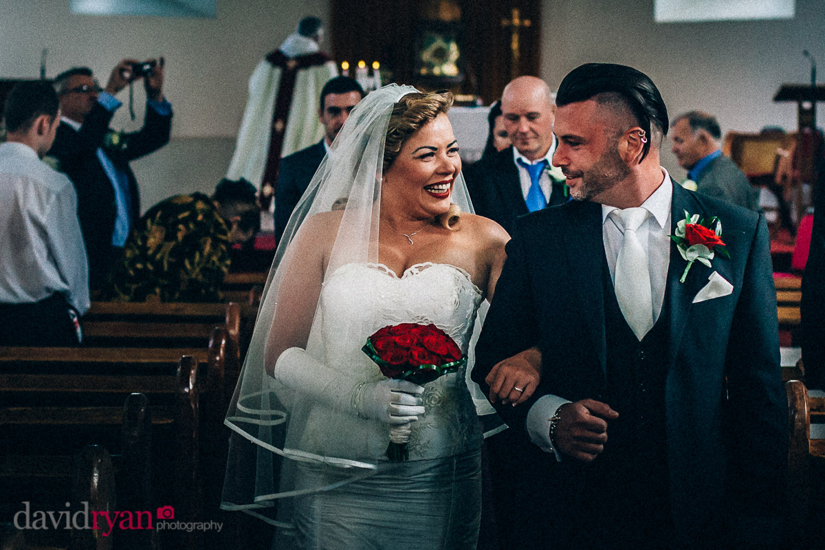 bride and groom leaving church in tallaght