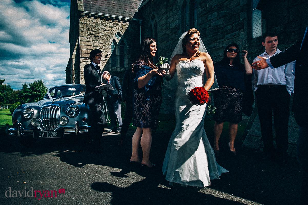 autumn light on bride in dublin