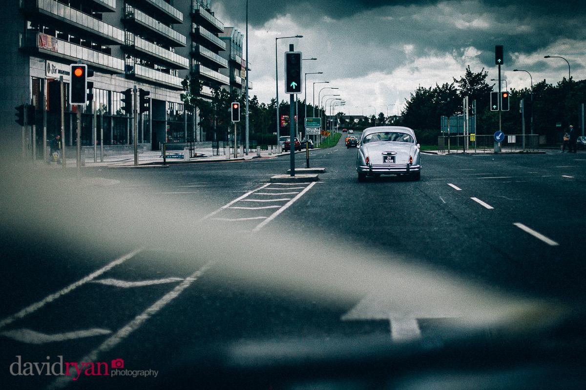 wedding car jaguar mk2 driving through tallaght