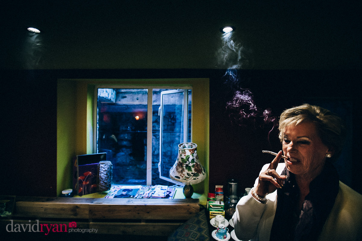 mother of the bride having a smoke