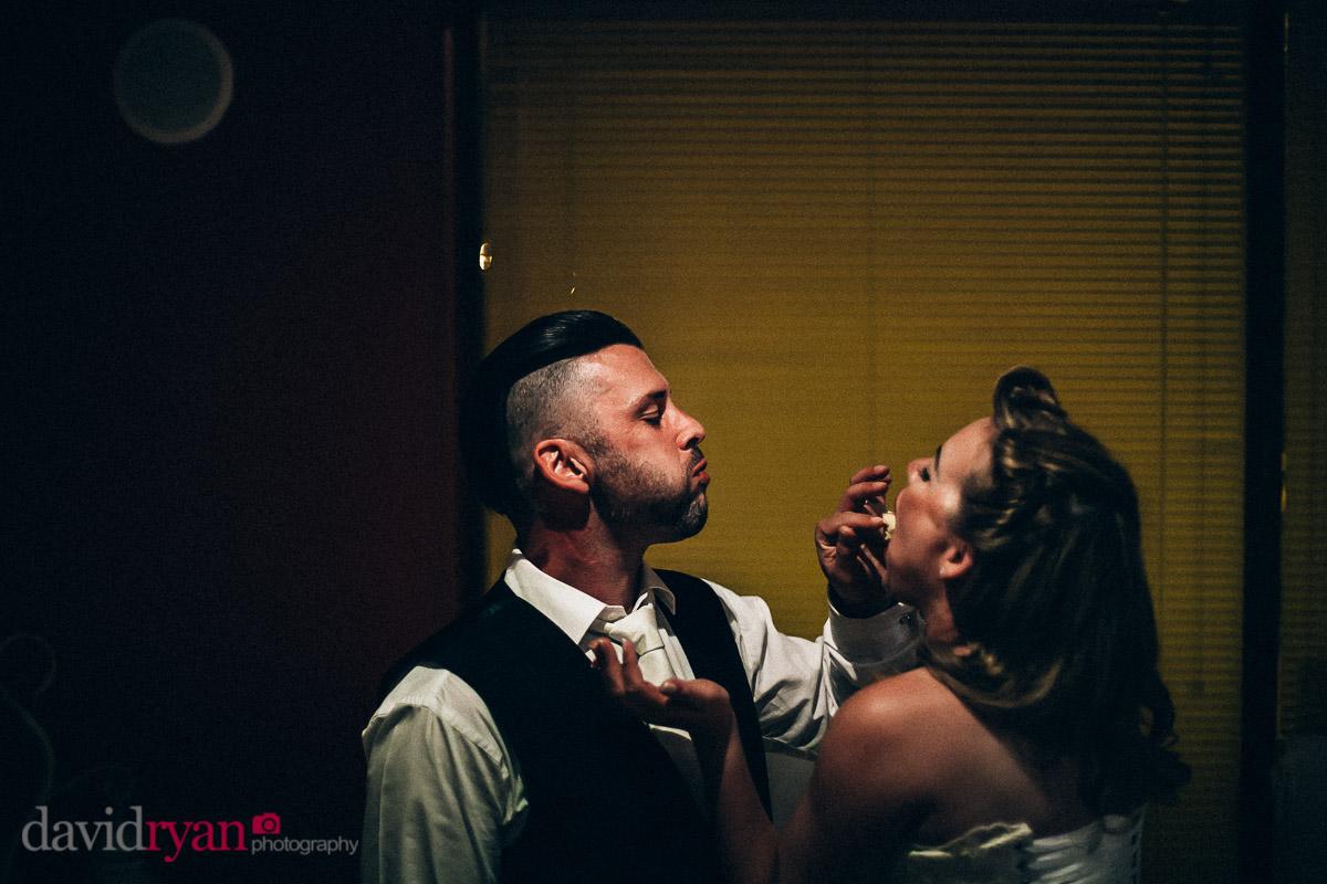 dublin couple eating wedding cake