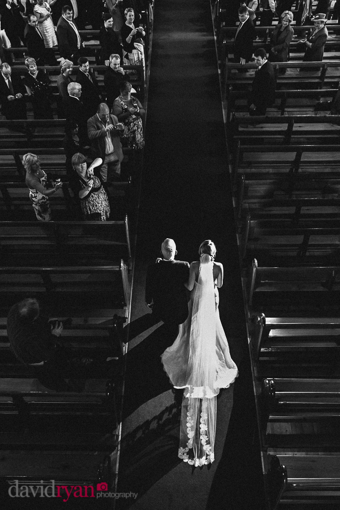bride walking up the aisle with her father in kildare