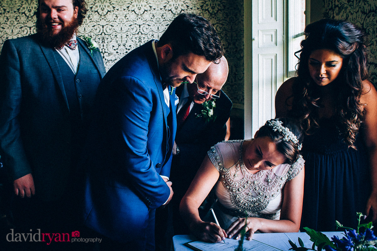 signing of the register at virginia park lodge wedding