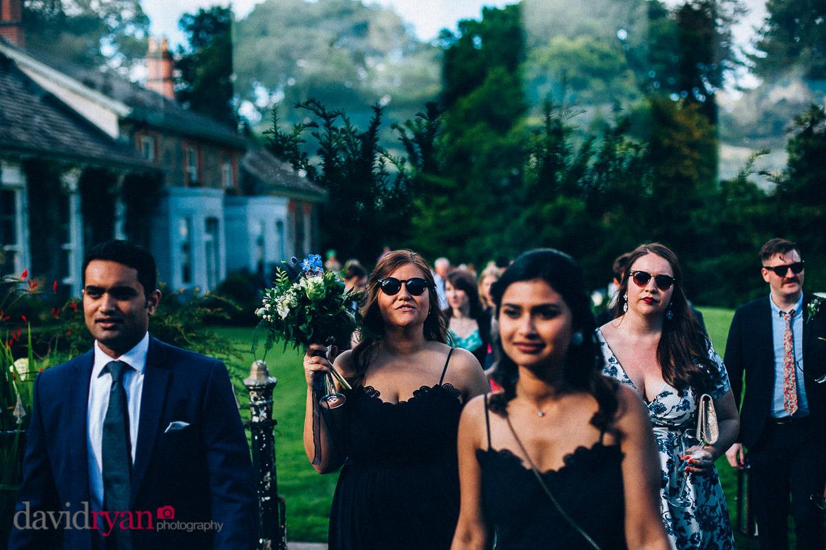 wedding guests walking to dinner at virginia park lodge