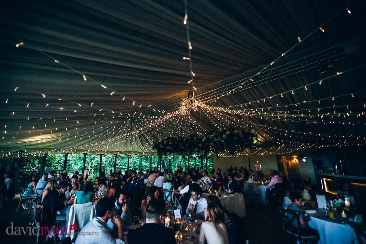 the inside of the marquee at virginia park lodge wedding