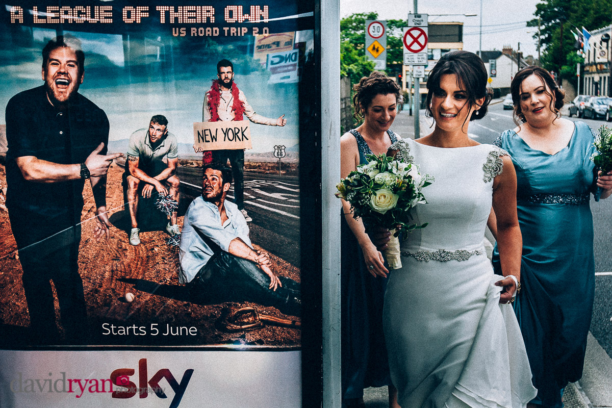 bride and a bus shelter