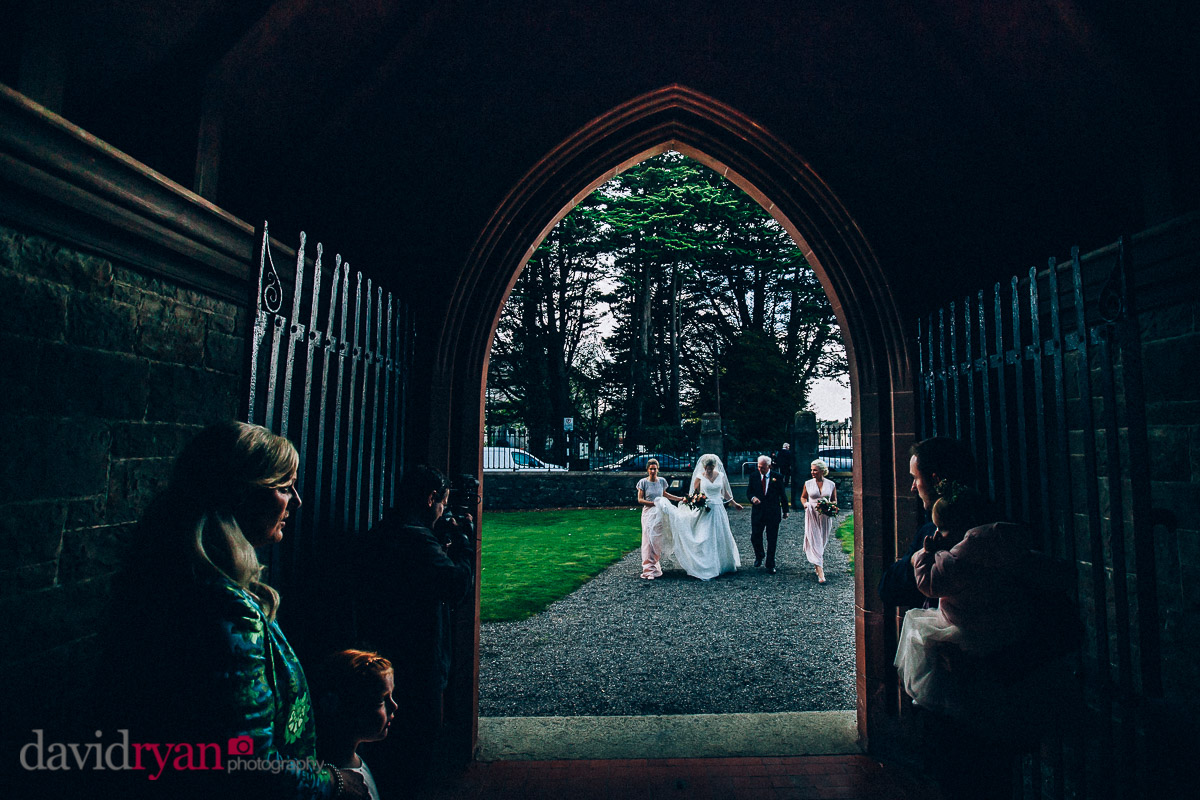 bride arives at church door