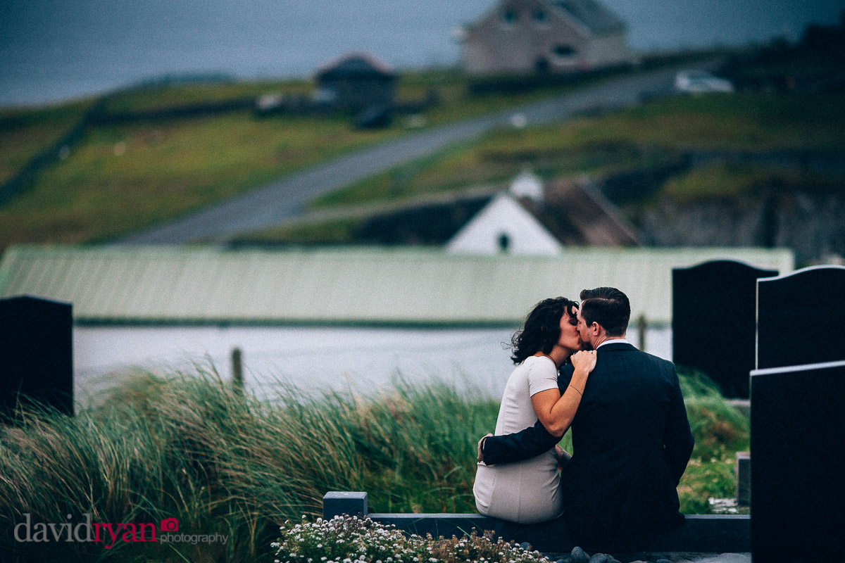 bride and groom on inis oirr island kissing