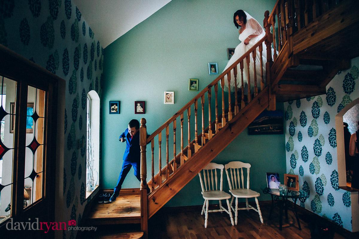 bride walking downstairs