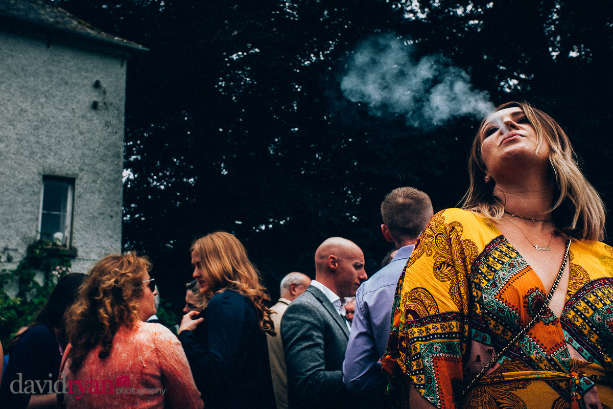 smoking at a wedding