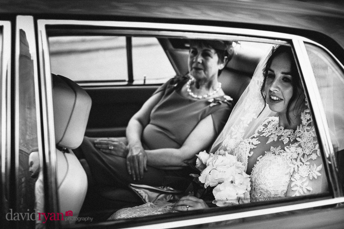 bride in car with her mother