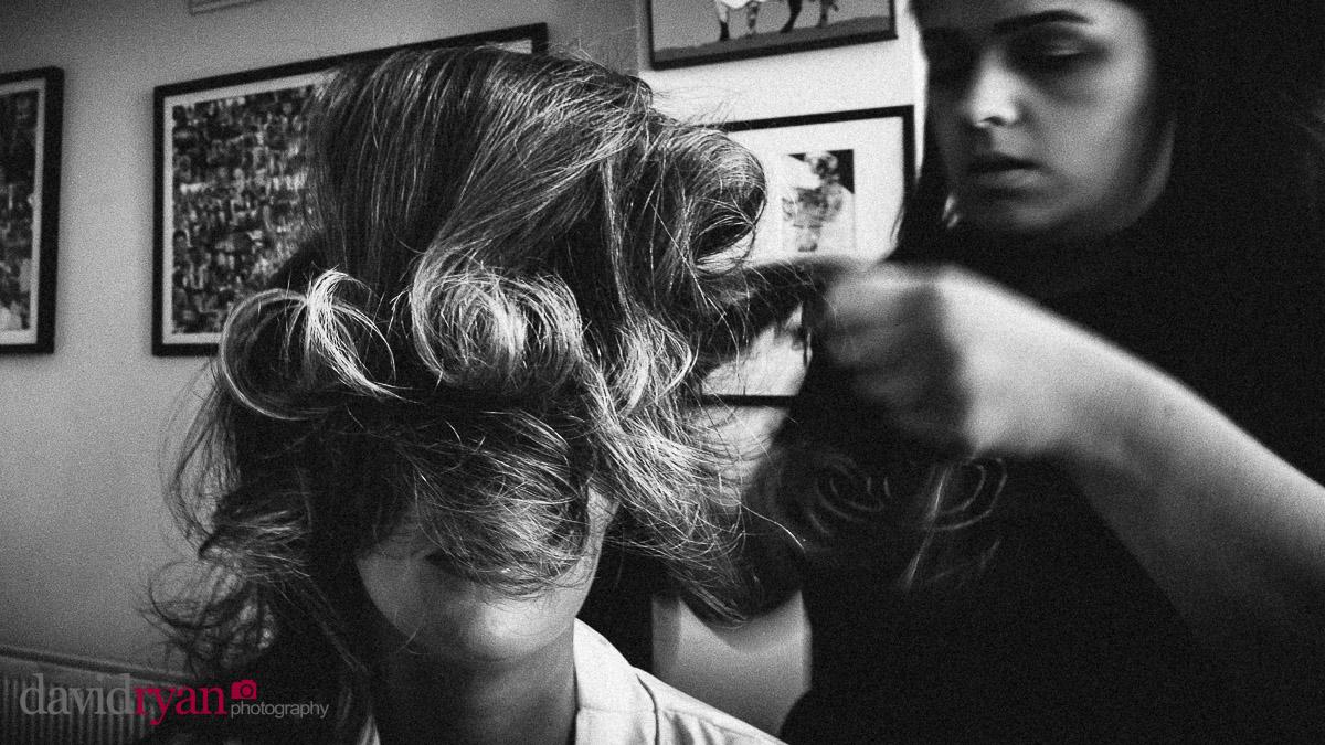 girl having her hair done