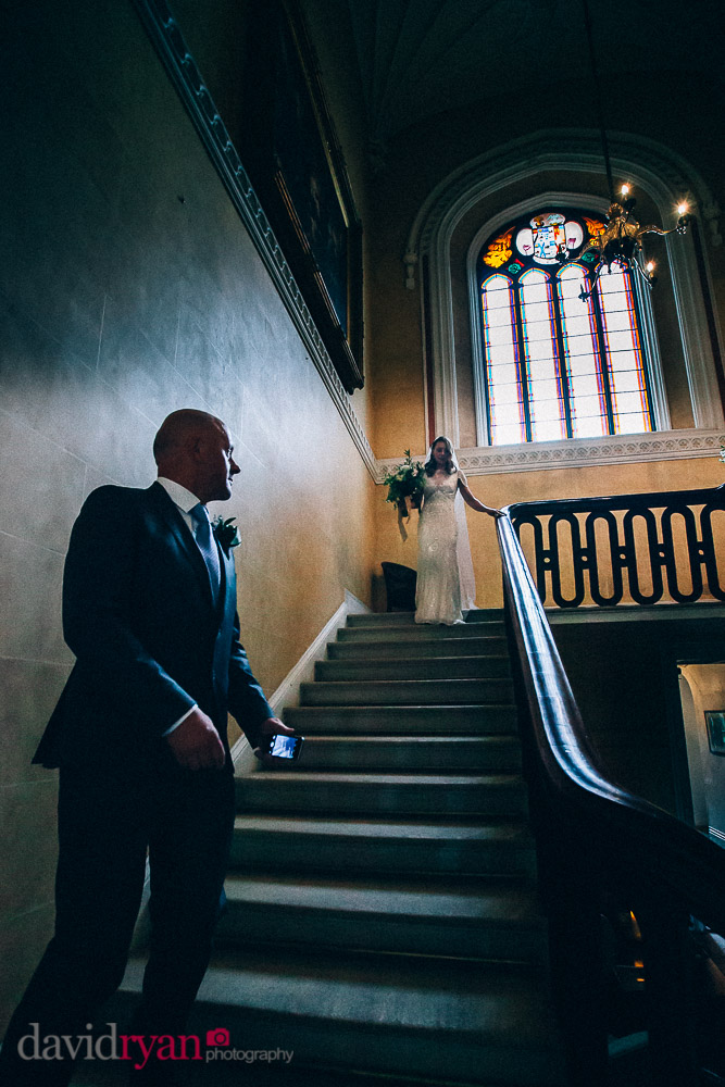 bride on stairs at borris house