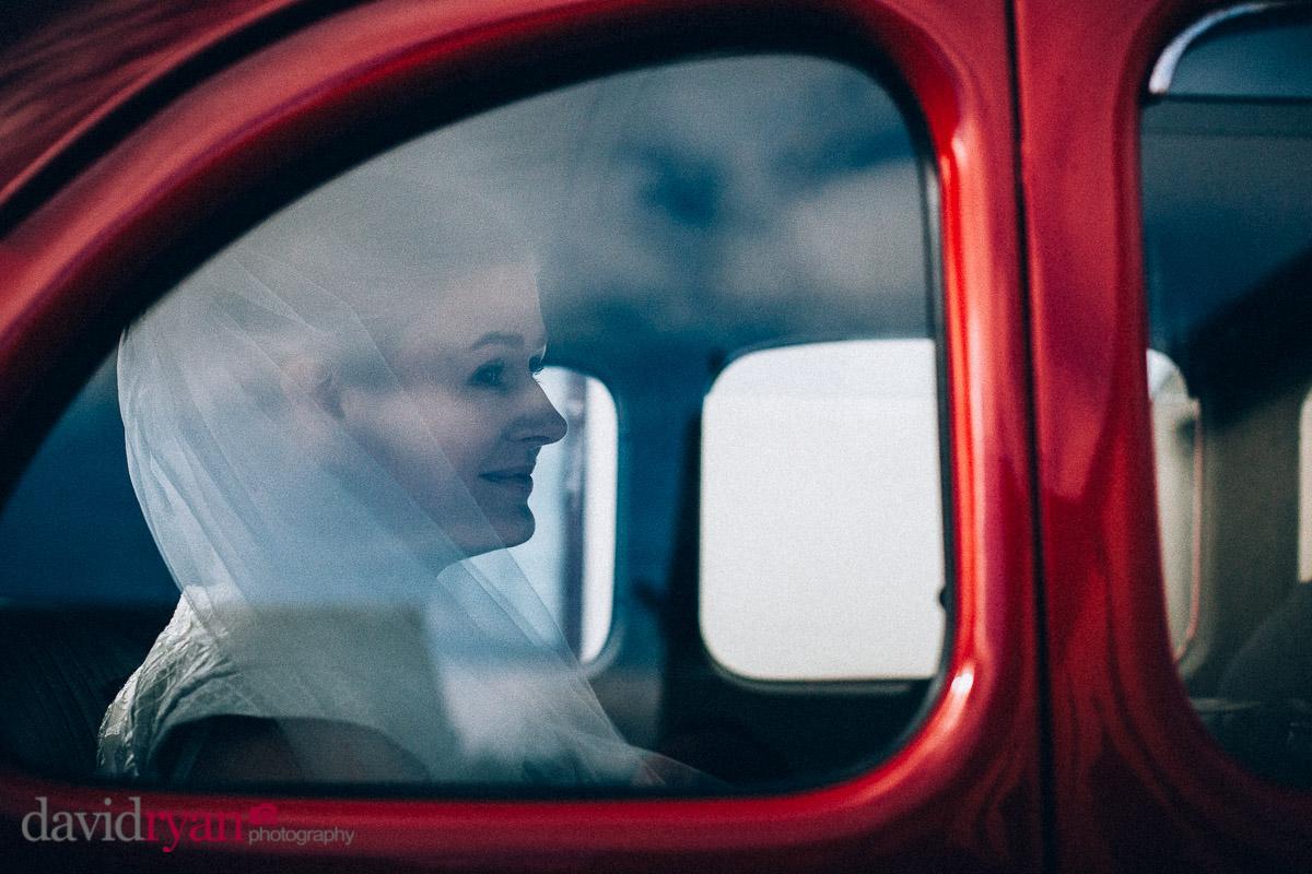 bride inside a wedding car