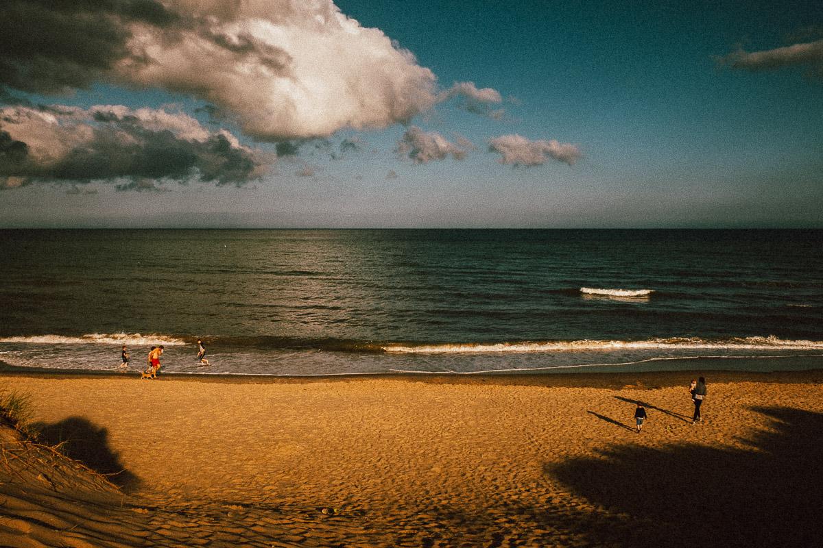 children playing at beach