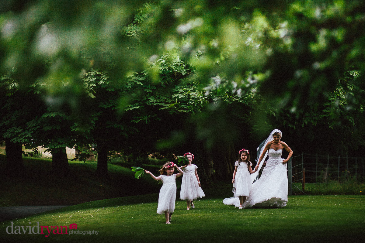 bride walking in woods