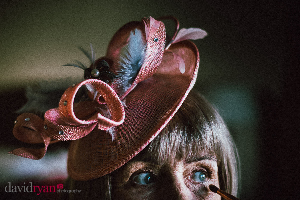 woman with a hat on